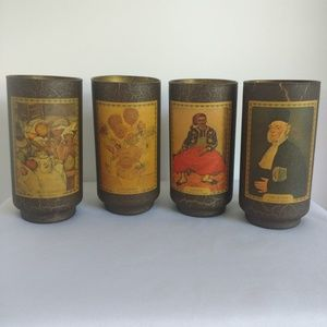 Four Brown Crackle Textured Artist Drinking Cups